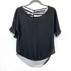 Naked Zebra Black Sheer Blouse Open Back Size S
